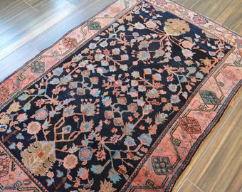 Antique Persian Sarouk Rug // Size 4 x 6 // Navy, Coral & Powder Blue