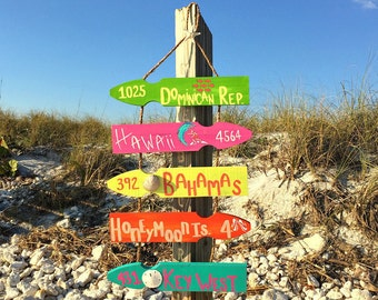 Personalized Beach Directional Sign, 5 Plank Mileage Sign, Beach Location Sign, Destination Sign, Vacation Sign, Wood Beach Sign,Patio Decor