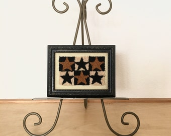 Miniature Framed Art / Vintage Needlework Handmade Wall Decor / Framed Star Needle Work / Hand Stitched Wall Art / Framed Embroidery Art