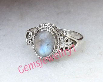 Rainbow Moonstone ring, 925 Sterling silver Stone Ring in Size US 5 6 7 8 9 10 All Size 29