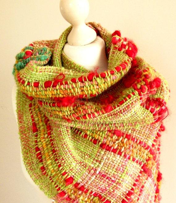 handwoven wool scarf designer scarf boho scarf infinity woven