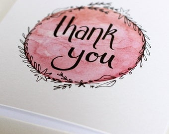 Watercolour Thank You Card - Pink Wreath
