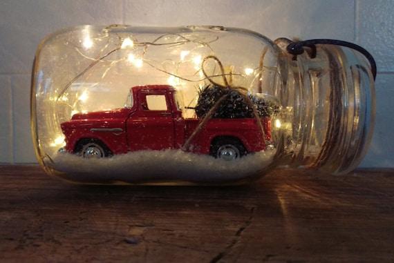 Vintage Quart Mason Jar Fairy String Light Dry Snow Globe with