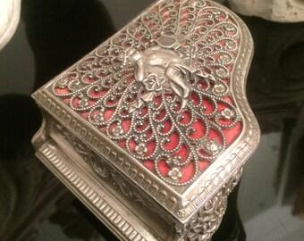 Vintage Piano Shaped Silver Color Metal Trinket Box / Musical Cherub Angel Jewelry Box / Vanity Box / Dresser Box