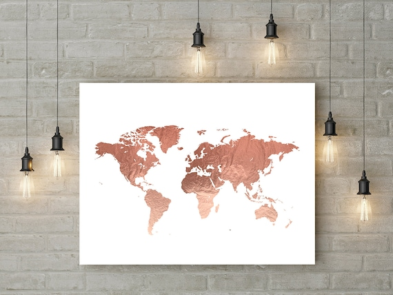 Rose gold world map poster large world map print faux foil map te gusta este artculo gumiabroncs Gallery