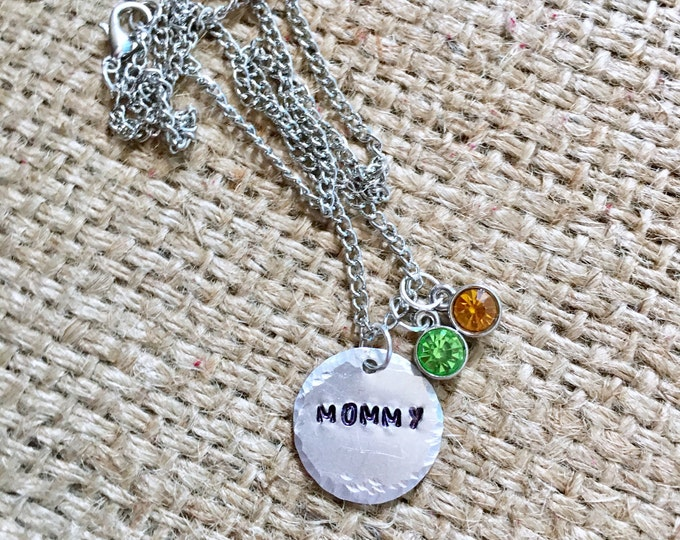 Mom Stamped Necklace, Custom Name Necklace, Name Necklace, Custom Necklace, Hand Stamped Jewelry, Gifts for Mom Birthstone Necklace