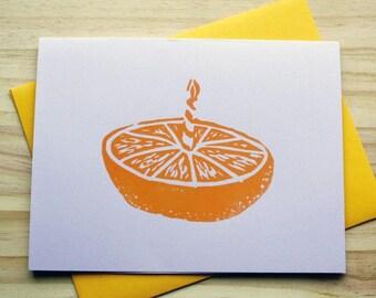 Hand Printed Orange Birthday Card - Linocut Orange - Block Print - Birthday Card - Orange Cake