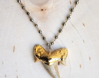 Shark Tooth and Pyrite Necklace