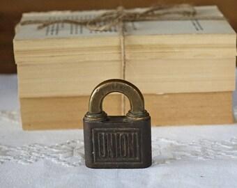 Antique brass UNION lock -  Made in England, British - Vintage lock