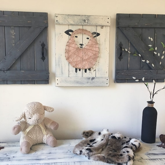 Sheep Nursery Decor 3 Pc Set Lamb Nursery Art Rustic Sheep