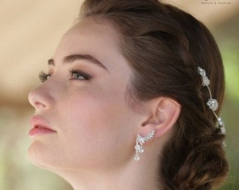 Silver Bridal Earrings ear climber earrings Bridal Ear Cuff ear crawlers bridal Ear Pin Ear Sweeps Ear Huggie Bridal jewelry Crystal Climber