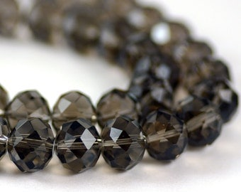 Chinese Crystal Large Rondelle Smoky Gray 14x10mm