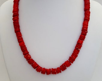 Hand knotted coral disc necklace