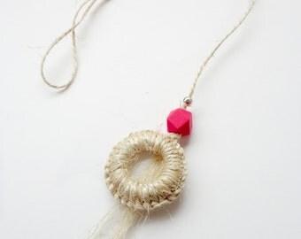 Cat toy natural sisal - Door knob, Super resistant, pink geometric, animalove