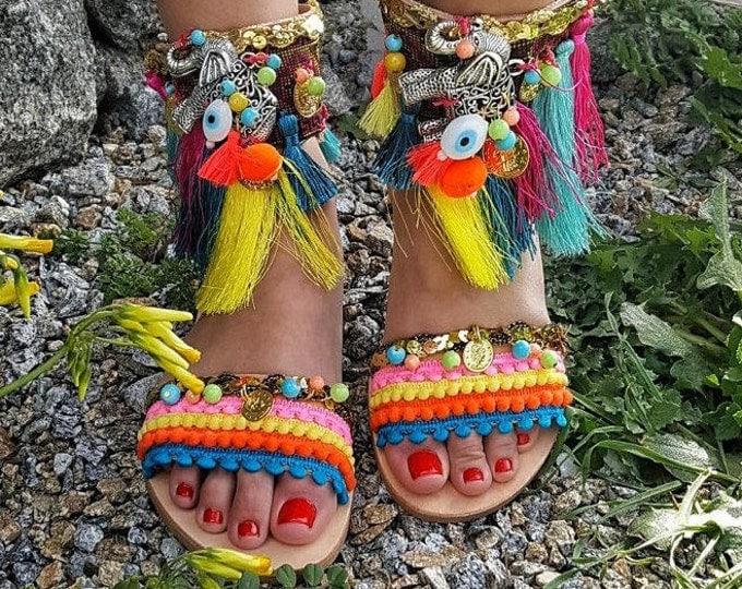 """Greek handmade sandals """"Africa """",Africa ,boho sandals,ethnic,fringes sandals,big tassels,women's  sandals ,leather sandals,evil eyes,pompom"""