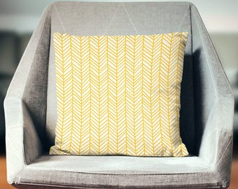 Yellow Pillow | Yellow Throw Pillow | Yellow Pillow Case  | Yellow Pillow Cover | Yellow Chevron Pillow | Herringbone Pillow | Chevron