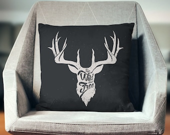 Deer Pillow | Deer Pillow Cover | Deer Cushion | Deer Throw Pillow | Deer Decor | Deer Gifts | Deer Pillowcase | Antlers Pillow