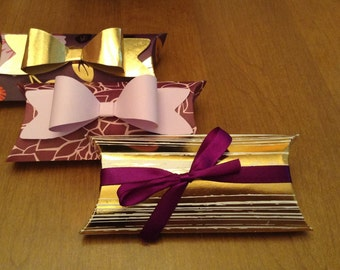 Gold and Purple Floral Pillow Boxes - Set of 3