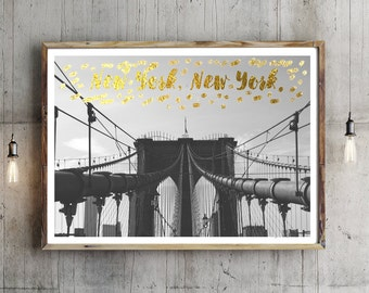 New York, New York Photography, Brooklyn Bridge, Brooklyn Bridge Print, Art Photo, Brooklyn Decor, New York Shabby Chic, Faux Gold Wall Art