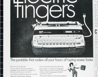 Vintage 1967 Smith -Corona Electra 110 Typewriter Ad  (67 POST-53)