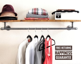 Industrial pipe clothing rack with shelf ⋆ Industrial hanger ⋆ retail display rack ⋆ pipe rack⋆closet rod ⋆ commercial display