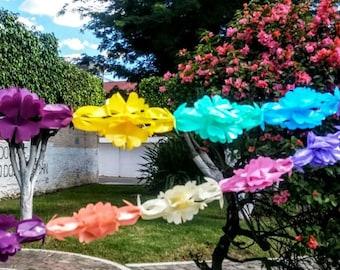 8 Mexican party colorful banner, Mexican Fiesta decoration banner, Papel picado flower banner, Mexican garland, Fiesta decor cinco de mayo