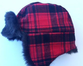 plaid trapper hat, aviator hat, bomber hat, plaid flannel hat, lumberjack hat, winter hat, fur cap, red and black hat