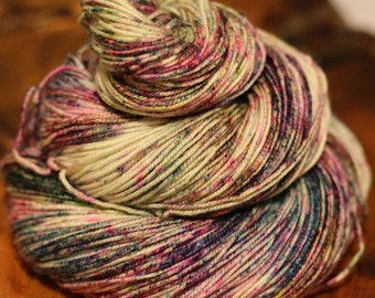 "Hand Painted ""Star Dust"", Sport, Super Wash Merino, Wool, Speckles, Knitting, Crochet, Yarn"