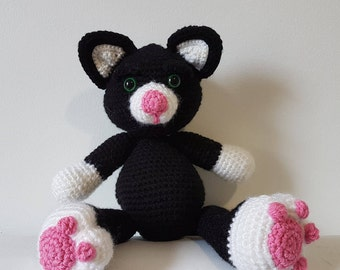 MADE TO ORDER - Black Cat, Crochet Cat, Soft Cat Toy, Crochet Black Cat, Soft Toy, Toy Cat, Handmade Crochet Cat, Large Amigurumi Cat
