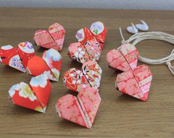 Red Heart Origami Bunting, red bunting, origami bunting, valentines day, mothers day, anniversary gift, origami, wedding gift