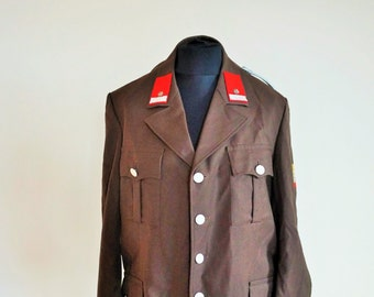 Vintage Military Jacket / Army / Navy / Brown / Officer / Large / L / Police / Blazer / Smoking Jacket / Evening / Field Jacket