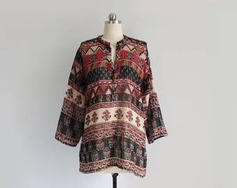 vintage indian gauze top / bohemian long sleeve blouse / womens M - L
