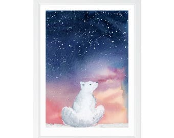 Starry Sky Over the Arctic – Polar Bear Art Print – Nursery Bear Wall Decor – Animal Poster – Watercolor Starlit Sky Painting – White Bear