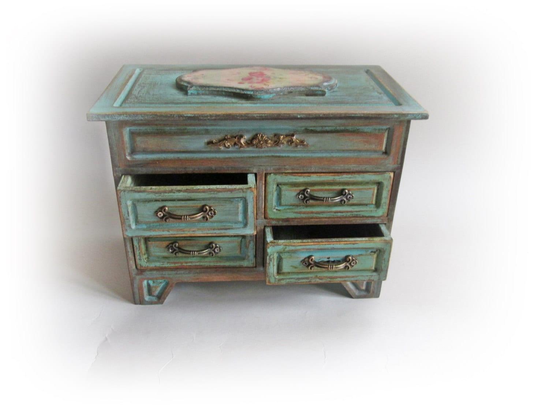 cottage chic makeup organizer chest of drawers wooden. Black Bedroom Furniture Sets. Home Design Ideas