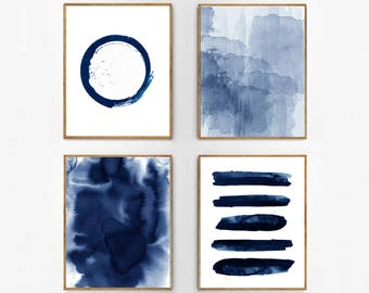 Abstract Watercolor Set Indigo Blue Wall art Large Navy Prints Minimalist art Minimal Contemporary Modern art Circle Stripes Beach Decor