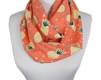 Pineapple Scarf Infinity Scarf Peach Circle Scarf Christmas Gift For Her For Girl Spring Summer Fall Winter Scarf Women Fashion Accessories