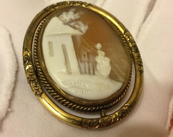Gold Tone Victorian Swivel Carved Shell Cameo Mourning Brooch Pin