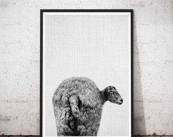 Sheep Print, Bathroom Funny Decor, Animal Butt, Minimalist Large Art, Animal Farm Nursery Set, Large Modern Print, Baby Shower Gift, Photo