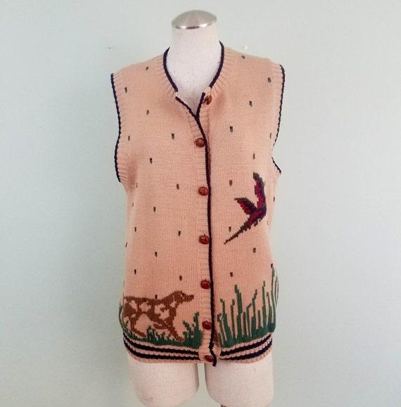 Vintage Duck Hunt Sweater Vest / Pheasant and Dog Hunting Knit Waistcoat / Herman Geist / Modern Unisex Size Medium