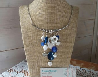 Bohemian blue and white necklace