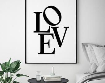 Love Digital Print, Typography Wall Art, Love Print, Love Printable, Love Typography Print, Love Wall Art, Modern Home Decor, Gift for Her