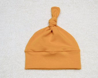 Mustard/Yellow Solid Knot hat, baby hat, toddler hat, Cotton/Spandex, Soft, Baby Gift