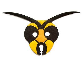 Wasp Felt Mask, Hornet felt mask, Children Bee mask, Adult Insect costume, Bumble Bee mask, Wasp costume, Hornet pretend play, bug dress up