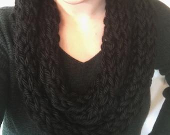 Light scarf, Black scarf, infinity scarf, knit scarf, finger knit scarf, womens scarf, winter scarf, knit infinity scarf, crochet scarf