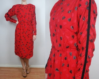 vintage 70's GIVENCHY silk dress // heart pattern// Small