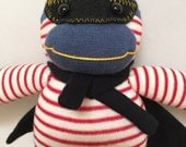 Socks Handmade doll Lucha Libre Monkey Wrestler with Black Cape and Mask. Gifts or Unique Gift for Anyone