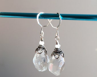 Chunky Crystal Quartz Freeform Faceted Sterling Silver Earrings