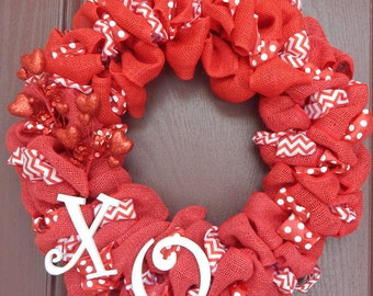 Valentine's Day, Burlap Wreath, Red, Valentines Wreath, Valentine's Day Wreath, Red Burlap Wreath, Red Burlap, Red and White Wreath