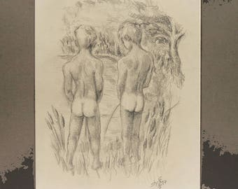 Cat Tails is a pair of nude boys pissing in a pond ~ Prints Only