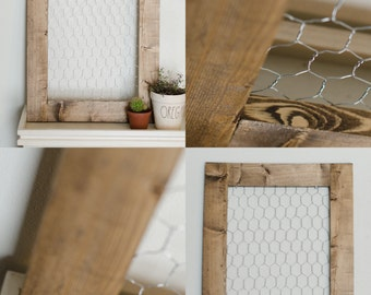 Frame with chicken wire | Nursery decor wall art | Organizer board | Farmhouse wall decor | Wooden memo board | Photo display